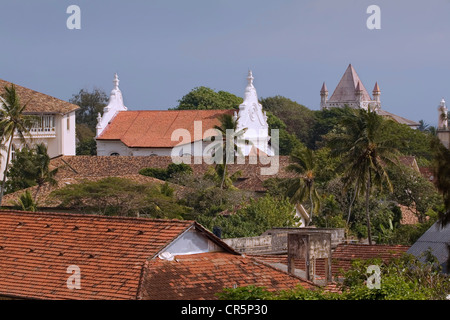Overhead of tiled rooftops inside Galle Fort, Galle, Southern, Sri Lanka - Stock Photo