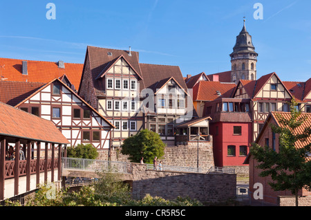Historic town centre with St. Blasius Church, Hannoversch Muenden, Lower Saxony, Germany, Europe - Stock Photo