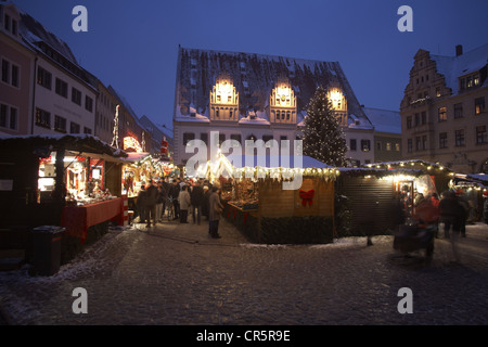 Christmas market in front of the Town Hall, Meissen, Saxony, Germany, Europe - Stock Photo