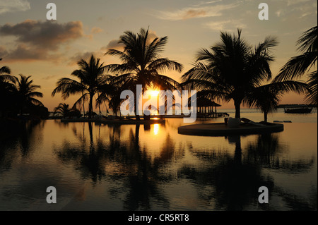 Sunset over an infinity pool with views of the sea through palm trees, Maldives, Indian Ocean - Stock Photo