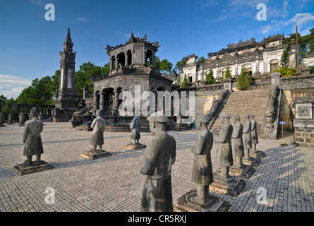 Tomb of Emperor Khai Dinh Mausoleum, guardian statues in stone, Hue, UNESCO World Heritage Site, Vietnam, Asia - Stock Photo