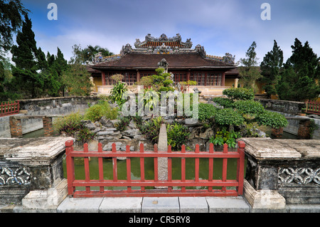 Bonsai garden in front of the library in the citadel, Mandarin halls, Hoang Thanh Imperial Palace, Forbidden City, - Stock Photo