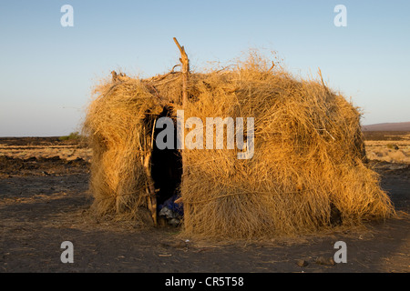 Afar village near Erta Ale, Danakil Depression, Ethiopia, Africa - Stock Photo