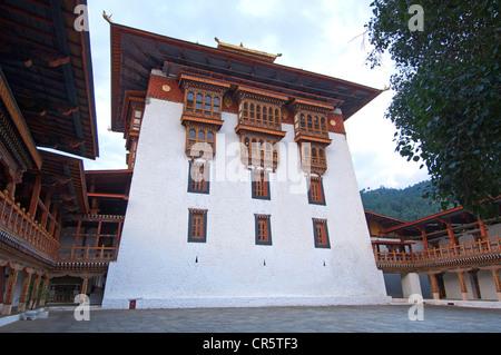 Central assembly building of the Phunaka Dzong Monastery, also Punthang Dechen, Phodrang Dzong, Phunaka, Bhutan, - Stock Photo