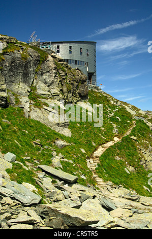 The futuristic Velan Hut, Cabane du Velan, of the Swiss Alpine Club, SAC, Valais Alps, Valais, Switzerland, Europe - Stock Photo