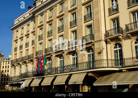 Four Seasons Hotel des Bergues, Geneva, Switzerland, Europe - Stock Photo