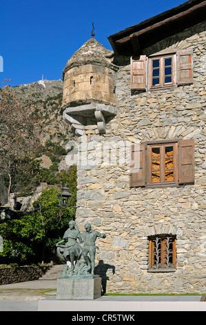 Casa de la Vall, the seat of the Parliament of Andorra, the smallest European Parliament, Barri Antic, Andorra La - Stock Photo