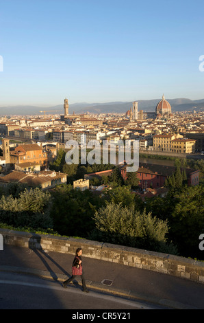 Italy Tuscany Florence historical centre listed as World Heritage by UNESCO overview with Duomo Campanile by Giotto - Stock Photo