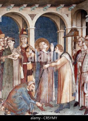 Martin of Tours, circa 316 - 8.11.397, saint, full length, receiving the knighthood, fresco, by Simone Martini, - Stock Photo