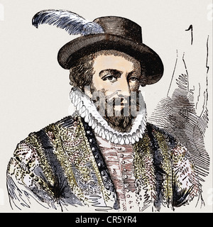Raleigh, Walter, circa 1554 - 29. 10.1618, English navigator, portrait, wood engraving, 19th century, later coloured, - Stock Photo