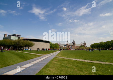 Museumplein a large open park in the centre of Amsterdam - Stock Photo