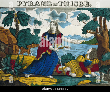 Ovid (Publius Ovidius Naso), 43 BC - 17 AD, Roman author / writer, works, 'Metamorphoses', 'Pyramus and Thisbe', coloured woodcut, Dembour et Gangel, Metz, 1840/1852, Metken Collection, Munich, , Stock Photo