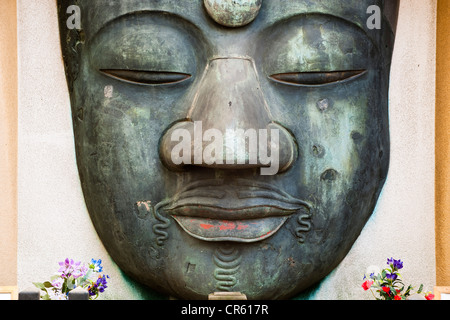 Japan, Honshu Island, Tokyo, the Ueno Park, face of Buddha, remains of a giant statue - Stock Photo