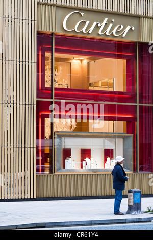 Japan, Honshu Island, Tokyo, Ginza, Chuo Dori, French Luxurious shop (jewellery and watchmaking) Cartier, facade - Stock Photo