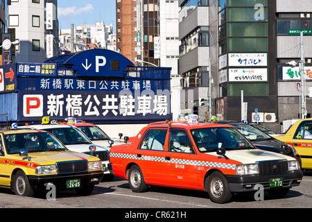 Japan, Honshu Island, Tokyo, Minato, Shimbashi Railway station, taxis station - Stock Photo