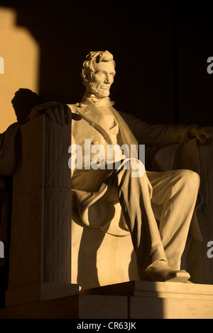 United States, Washington DC, The Mall, Lincoln Memorial and statue of Lincoln - Stock Photo
