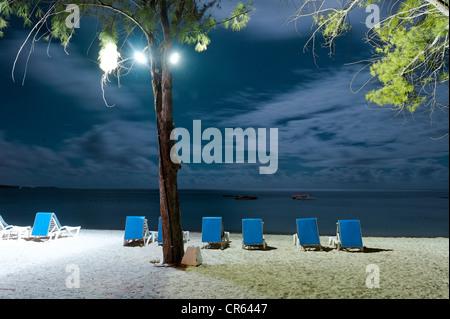 Mauritius, East Coast, Flacq District, Belle Mare, Palmar Beach, blue night beach chairs on the beach - Stock Photo