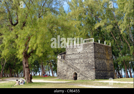 Mauritius, East Coast, Flacq District, Belle Mare, former windmill in the middle of the she-oaks on the beach side - Stock Photo