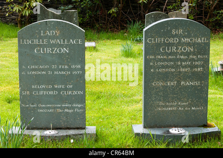 The graves of the concert pianist, Sir Clifford Michael Curzon and wife  in the churchyard of St Patrick's church, - Stock Photo