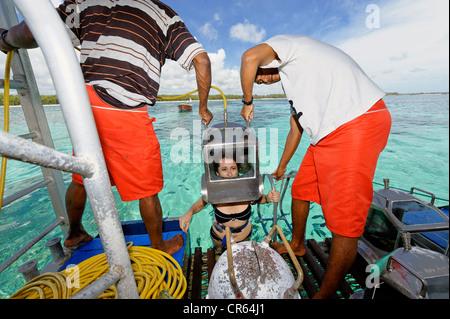 Mauritius, East Coast, Flacq District, Belle Mare, deep sea diving off the Palmar Beach - Stock Photo