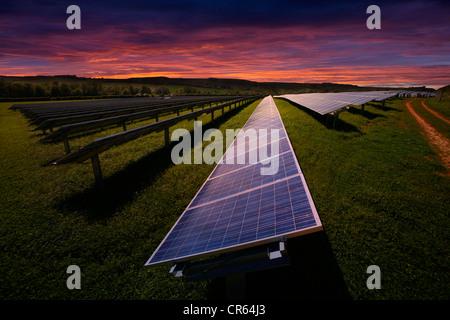 Energy Solar Farm Solar Panels Blackwater Newport Isle of Wight England - Stock Photo