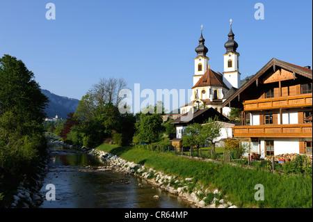 Darstellung des Herrn parish church and Prien River, Aschau im Chiemgau, Upper Bavaria, Bavaria, Germany, Europe - Stock Photo