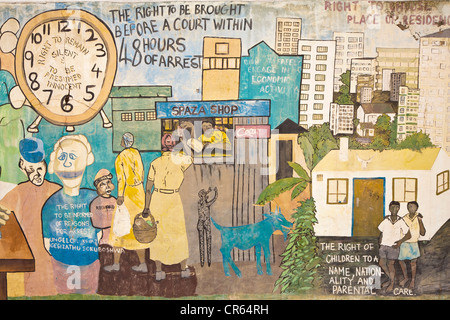 South Africa, Kwazulu Natal Province, Durban, painted wall on human rights - Stock Photo