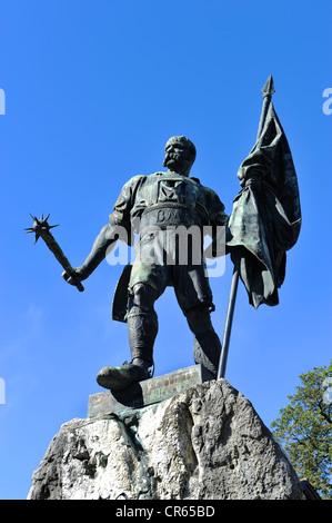 Monument, Smith of Kochel, Bavaria, Germany, Europe - Stock Photo