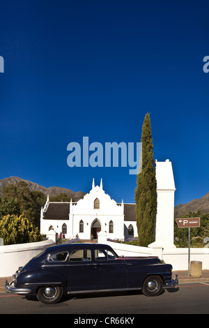 South Africa, Western Cape, Franschhoek, Dutch reformed church dated 1847 - Stock Photo