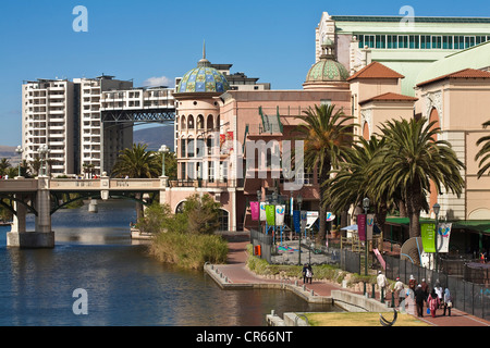 South Africa, Western Cape, Cape Town, Century City, shopping mall Canal Walk along the main canal - Stock Photo