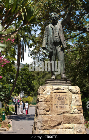 South Africa, Western Cape, Cape Town, Company's Garden, statue of Cecil Rhodes, Prime Minister of the Cape colony, - Stock Photo