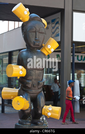 South Africa, Western Cape, Cape Town, statue of artist Brett Murray entitled Africa with the head of Bart Simpson, - Stock Photo