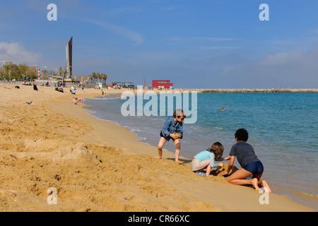 Spain, Catalonia, Barcelona, beach near the Olympic Port - Stock Photo