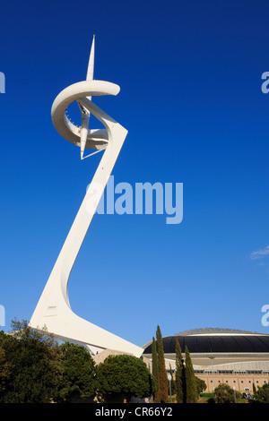 Spain, Catalonia, Barcelona, Montjuic, Olympic Ring, the Torre Telefonica by the architect Santiago Calatrava - Stock Photo