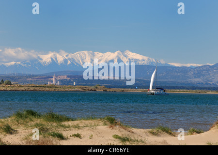 France, Aude, Gruissan, the beach in front of the Pyrenees - Stock Photo