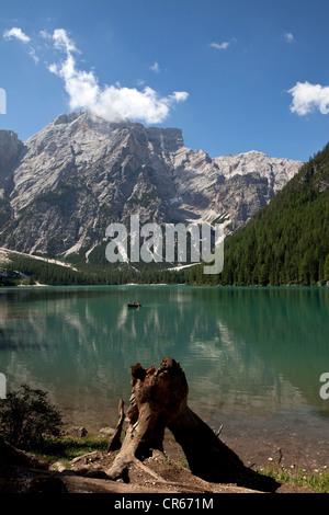Lake Pragser Wildsee or Lago di Braies, Dolomites, South Tyrol, Italy, Europe - Stock Photo