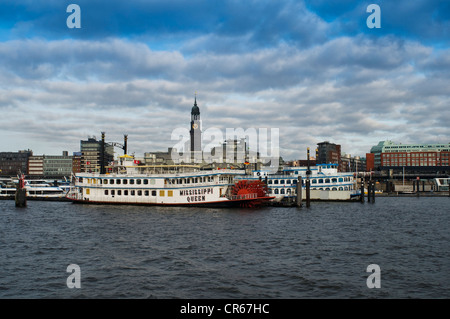 Mississippi Queen paddle wheeler, Port of Hamburg, St. Michaelis Church behind, Hamburg, Germany, Europe - Stock Photo