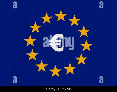 Euro symbol within the 12 stars of the European Union, European common currency, monetary union - Stock Photo