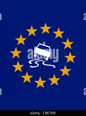 Euro symbol on a skidding car sign within the 12 stars of the European Union, symbolic image of the crisis in the - Stock Photo