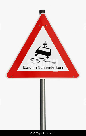 Traffic sign, danger ahead, euro in a spin, symbolic image - Stock Photo