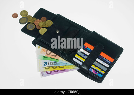 Open wallet with euro banknotes, coins and card compartments - Stock Photo