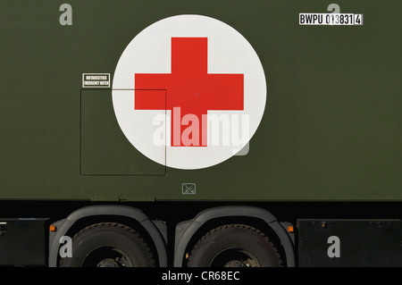 Bundeswehr, German federal army, ambulance with a red cross symbol, red cross on white, PublicGround - Stock Photo