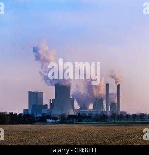 Lignite-fired power plant emitting huge clouds of steam, Niederaussem, North Rhine-Westphalia, Germany, Europe - Stock Photo
