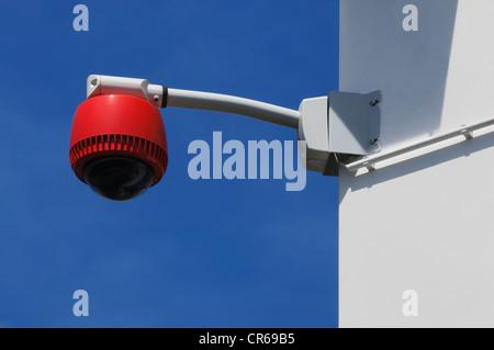 360° surveillance camera on the corner of a building corner, security - Stock Photo
