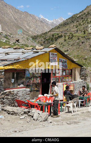 street scene at the bhaga river bridge, motorcycles, tandi, manali-leh highway, lahaul and spiti, himachal pradesh, - Stock Photo