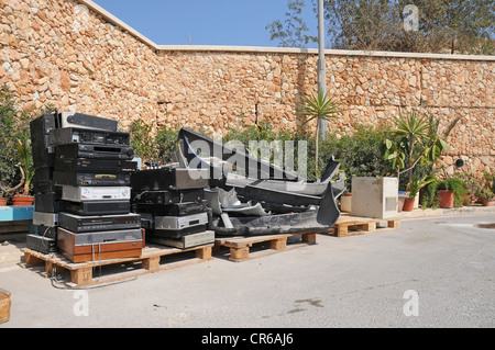 A section in a civic amenity site where old electronic appliances are collected. Waste management hierarchy. - Stock Photo