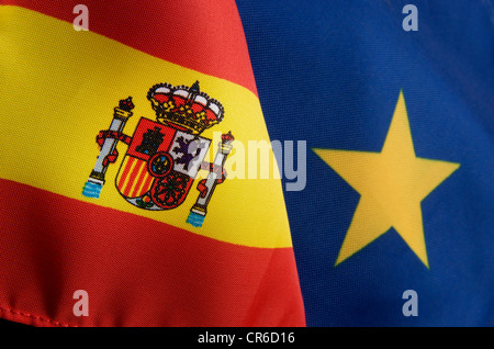 Spain flag and EU flag - Stock Photo