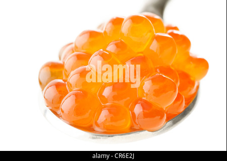 Fresh red caviar on a spoon - Stock Photo