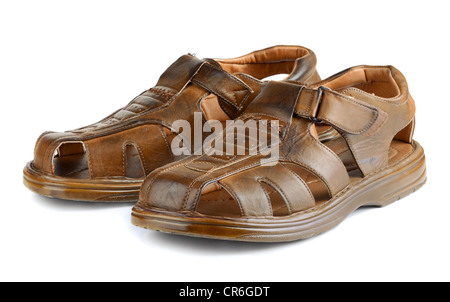Pair of mens leather sandals isolated on white - Stock Photo