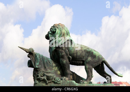 Lion Statue near the Margaret Bridge in Budapest in Hungary in Eastern Europe - Stock Photo